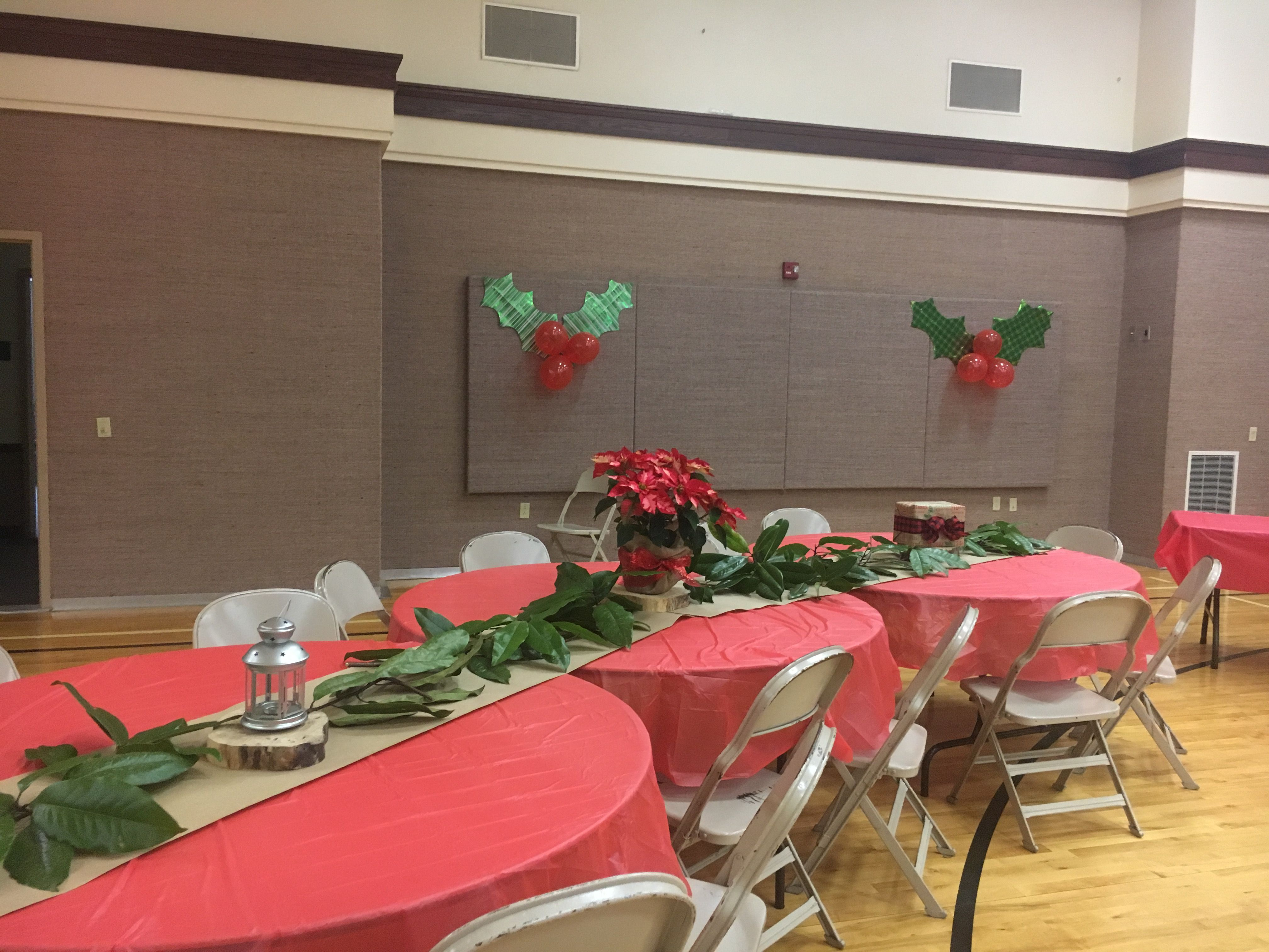 Ward Christmas Party Table Set Up And Hollies Christmas Party Table Ward Christmas Party Christmas Party Decorations