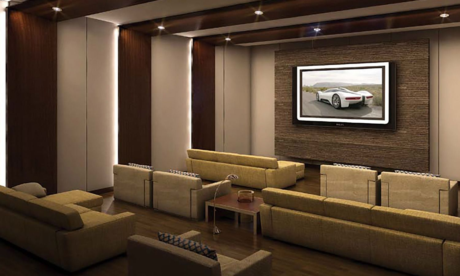 Large theater with wood finishing and surround sound, perfect for enjoying a movie.
