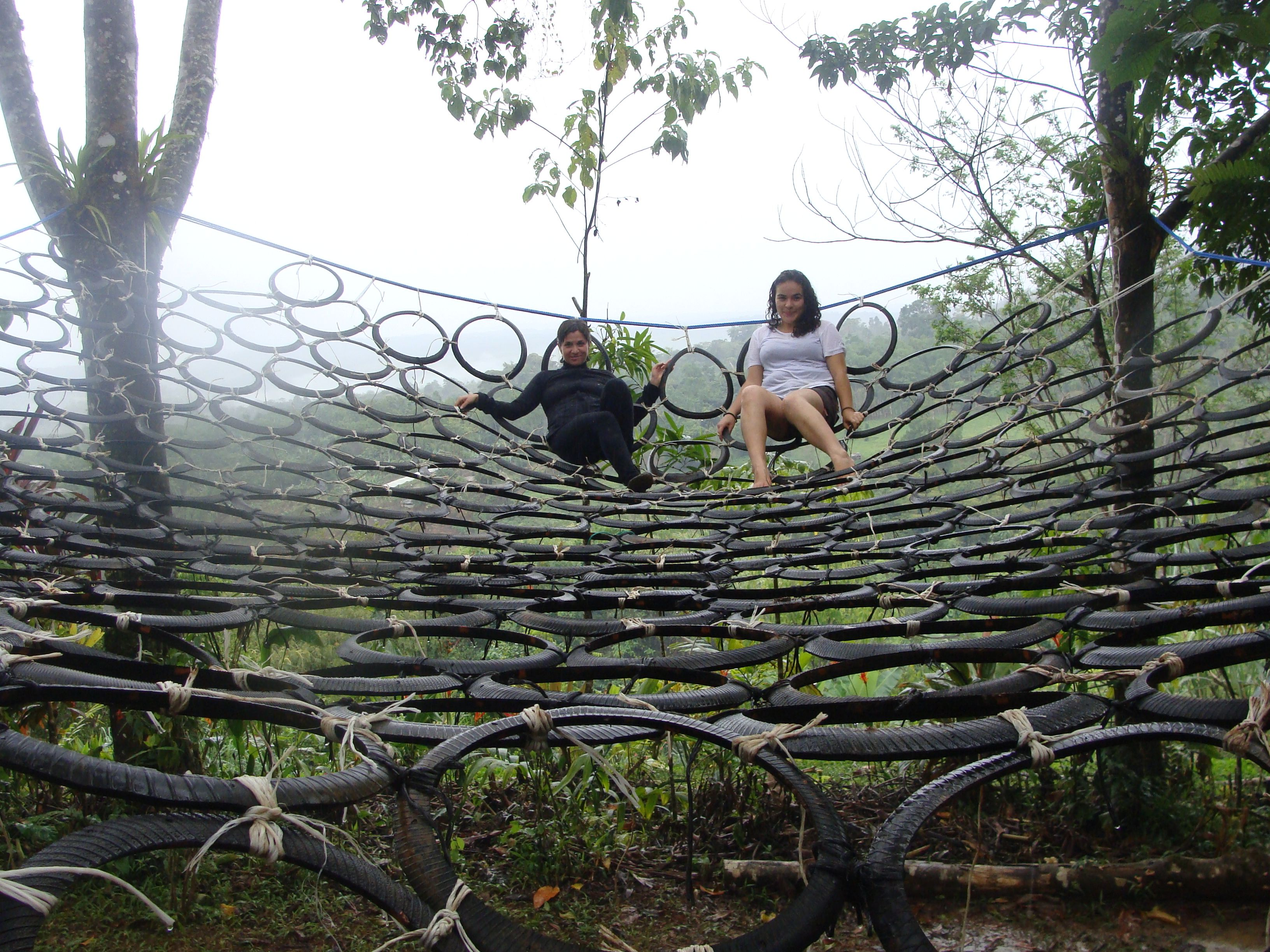 Canopy Trampoline Climbing Wall Made Of Used Bike Tires