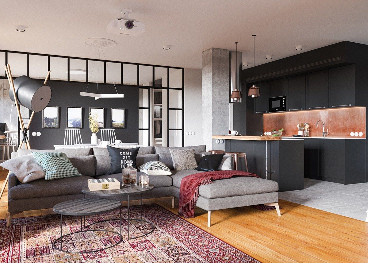 minimalist studio apartment design applied with a gray and wooden