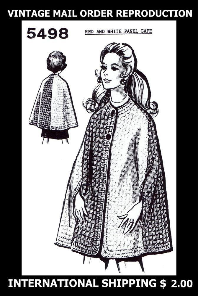 5498 Vintage 1960s Mail Order Design Womens CROCHET CAPE Coat Crocheting Pattern #PATTERNPEDDLER5498