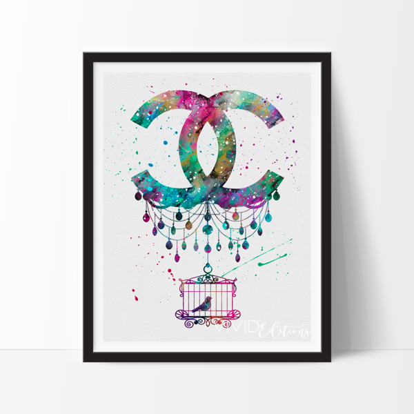 Coco Chanel Monogram Watercolor Art. This art illustration is a composition of digital watercolor images and silhouettes in a minimalist style.