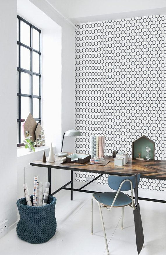 Honeycomb Removable Wallpaper Hexagon Pattern Self Adhesive Etsy Home Office Design Home Office Decor Interior