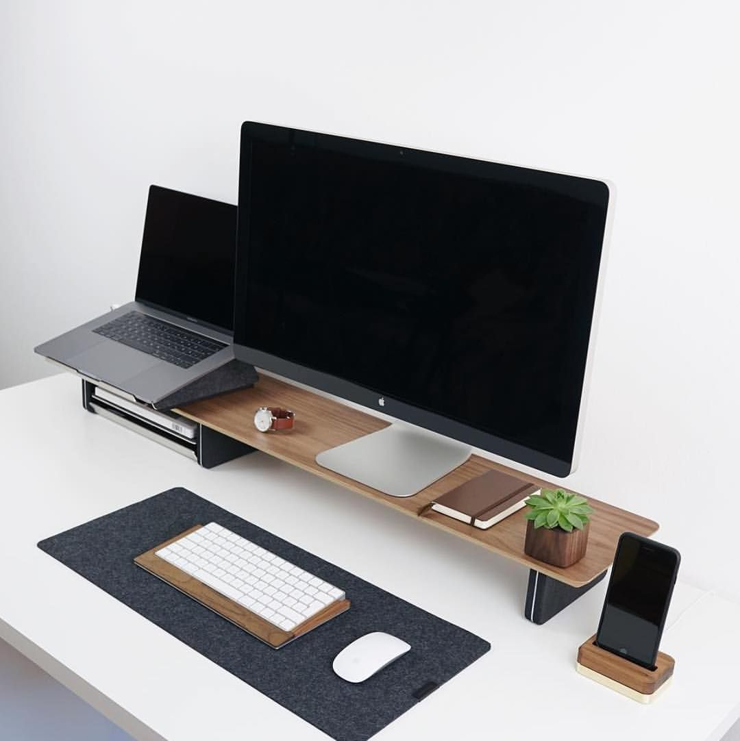 Matching Office Desk Accessories Minimalist Bamboo Monitor Stand And Matching Desk Accessories