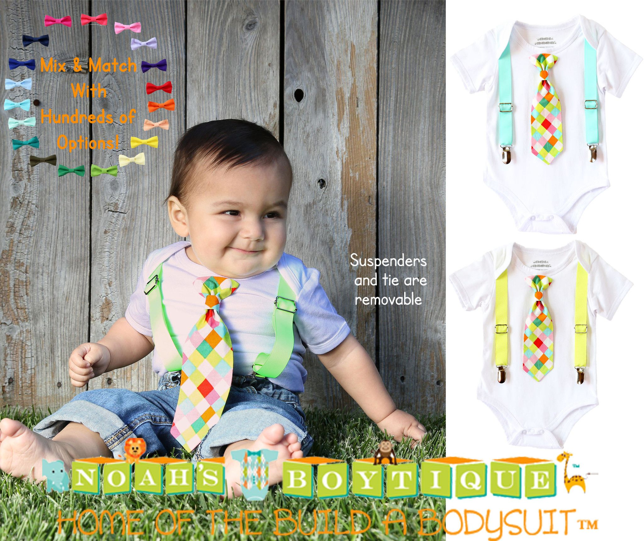 304ee2243363 Baby Boy Clothes - Baby Boy Shirts - Neon Tie - Hipster - Toddler ...