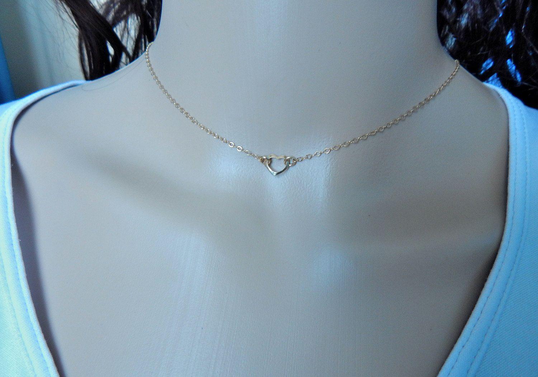 d02c720bec47e Gold heart choker necklace, open heart choker 14k gold fill, small ...