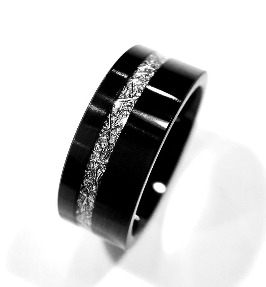 Mens and Women Black Tungsten Wedding Bands, Meteorite Inlay Rings 6mm&9mm Rings #Tungsten #Band