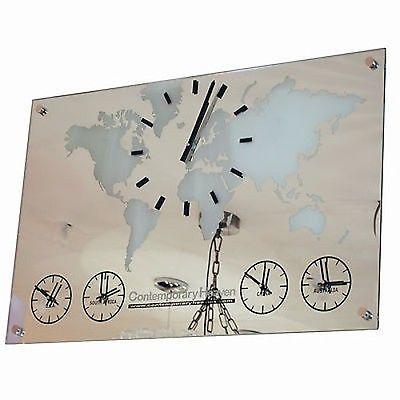 Roco verre personalised mirror world map timezone wall clock 5 dials roco verre personalised mirror world map timezone wall clock 5 dials gumiabroncs Gallery