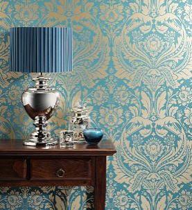 1) Wallpaper 1: Turquoise Damask Wallpaper.