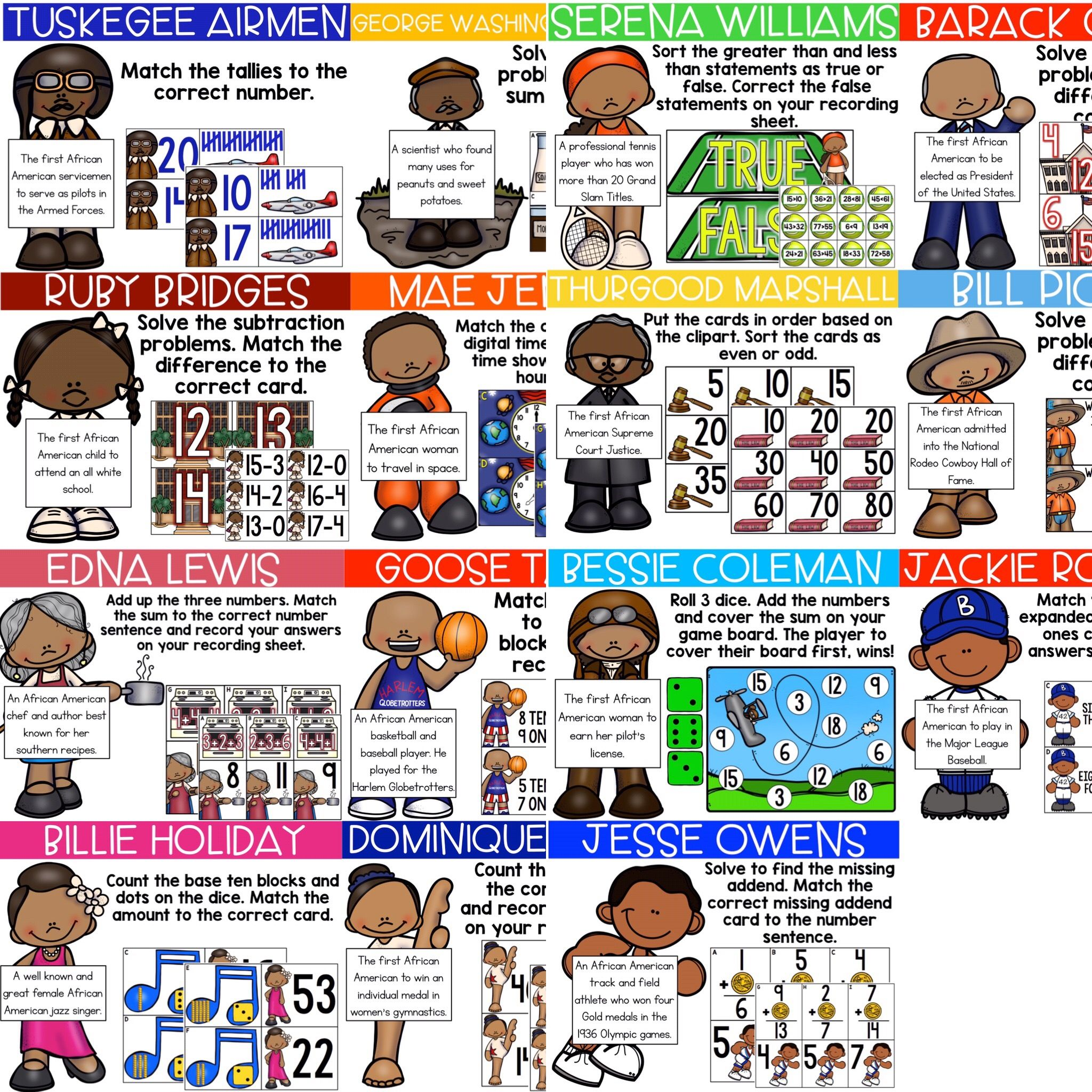 Famous African Americans Math Centers For Black History