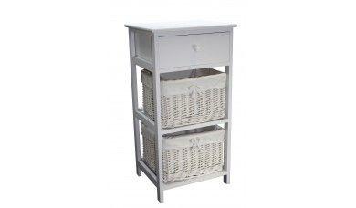 White 2 Willow Basket Unit & Drawer