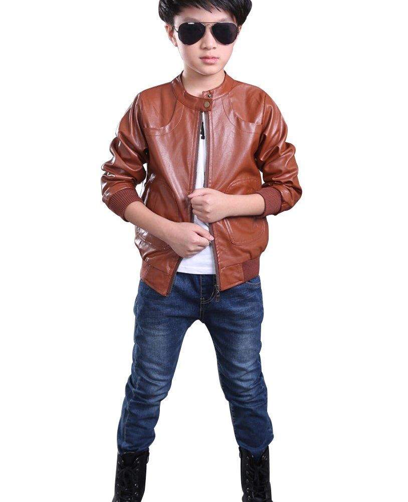 Youngsoul Kids Boys Stand Collar Faux Leather Motorcycle Jackets Brown 3 4t 2 13 Years Old Sizes Available Leather Motorcycle Jacket Childrens Jacket Jackets [ 1002 x 814 Pixel ]