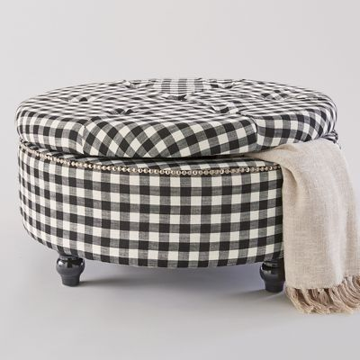 Marvelous Black Check Storage Ottoman In 2019 Ottoman Decor Ottoman Bralicious Painted Fabric Chair Ideas Braliciousco