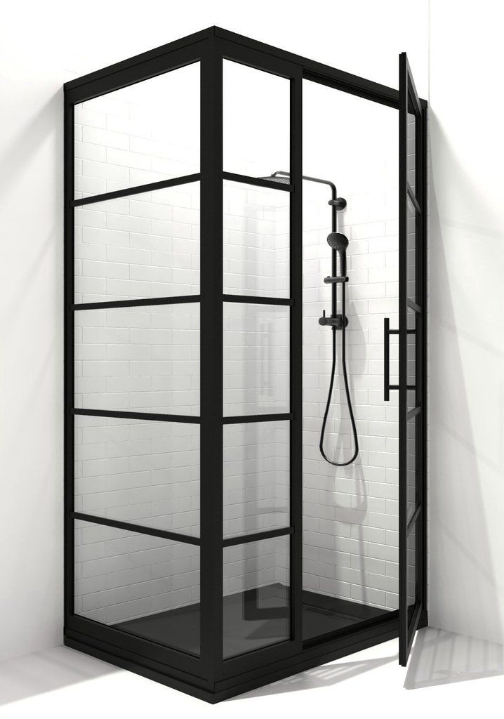 Gridscape Gs2 3 Panel Corner Shower Door In Black With Clear Glass Corner Shower Doors Shower Doors Coastal Shower Doors