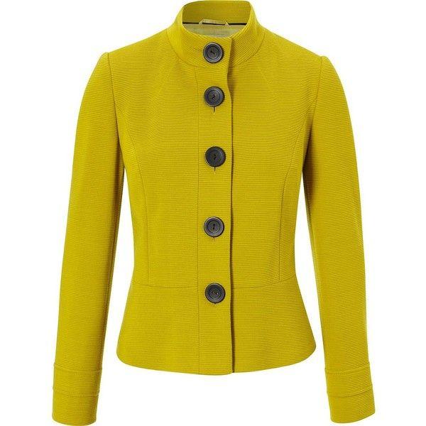 CC CC Ribbed ponteroma jacket (1 210 UAH) ❤ liked on Polyvore featuring outerwear, jackets, coats & jackets, sale, long sleeve jacket, yellow jacket i ribbed jacket