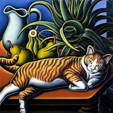 Bascove - Still life with cat and aloe, 1998