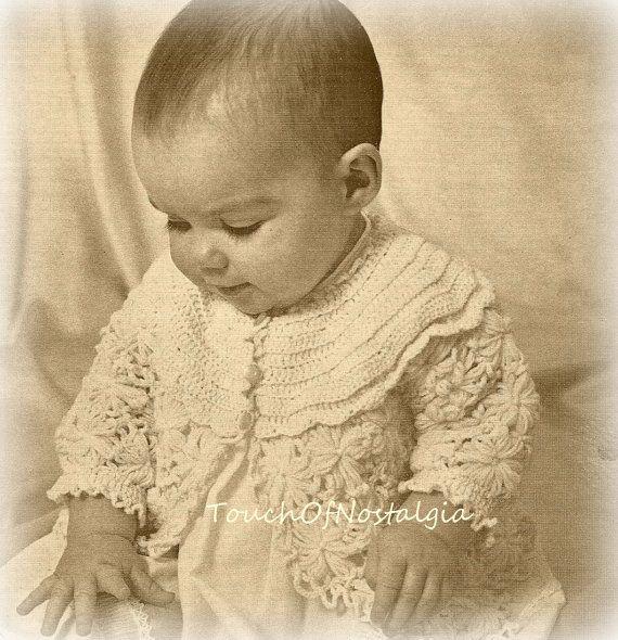 Vintage Crochet PATTERN to make Baby Set Sacque Bonnet Booties Shoes C70Crochet