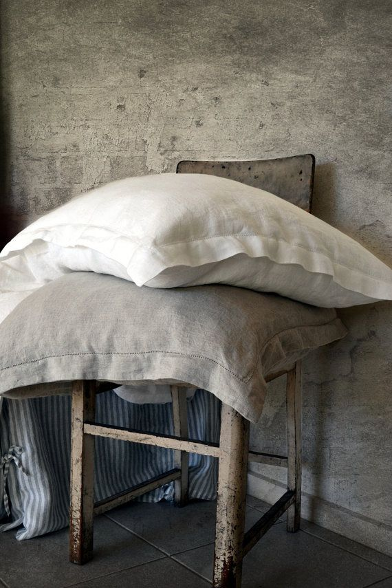 Luxurious stonewashed linen pillowcase Pure Elegance with ...