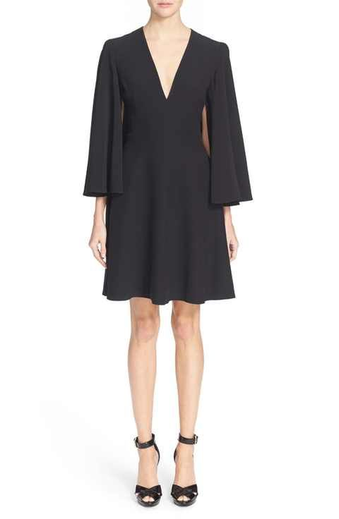 Alexander McQueen Cape Sleeve Crepe Dress | Fashion | Pinterest