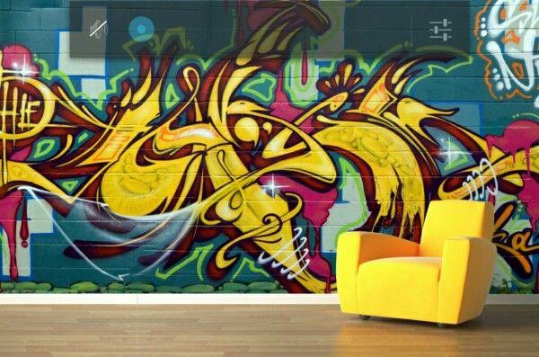 Graffiti mural wallpaper http://grofty.com/blue-and-yellow-graffiti ...