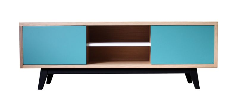 62260 buffet tv 2 portes coulissantes 1 niche collection vintage retro ann e 50 scandinave ch ne - Pirotais meubles ...