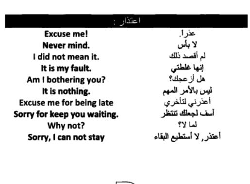 الاعتذار في اللغة الانجليزية Apology In English Words Arabic Words Learn English