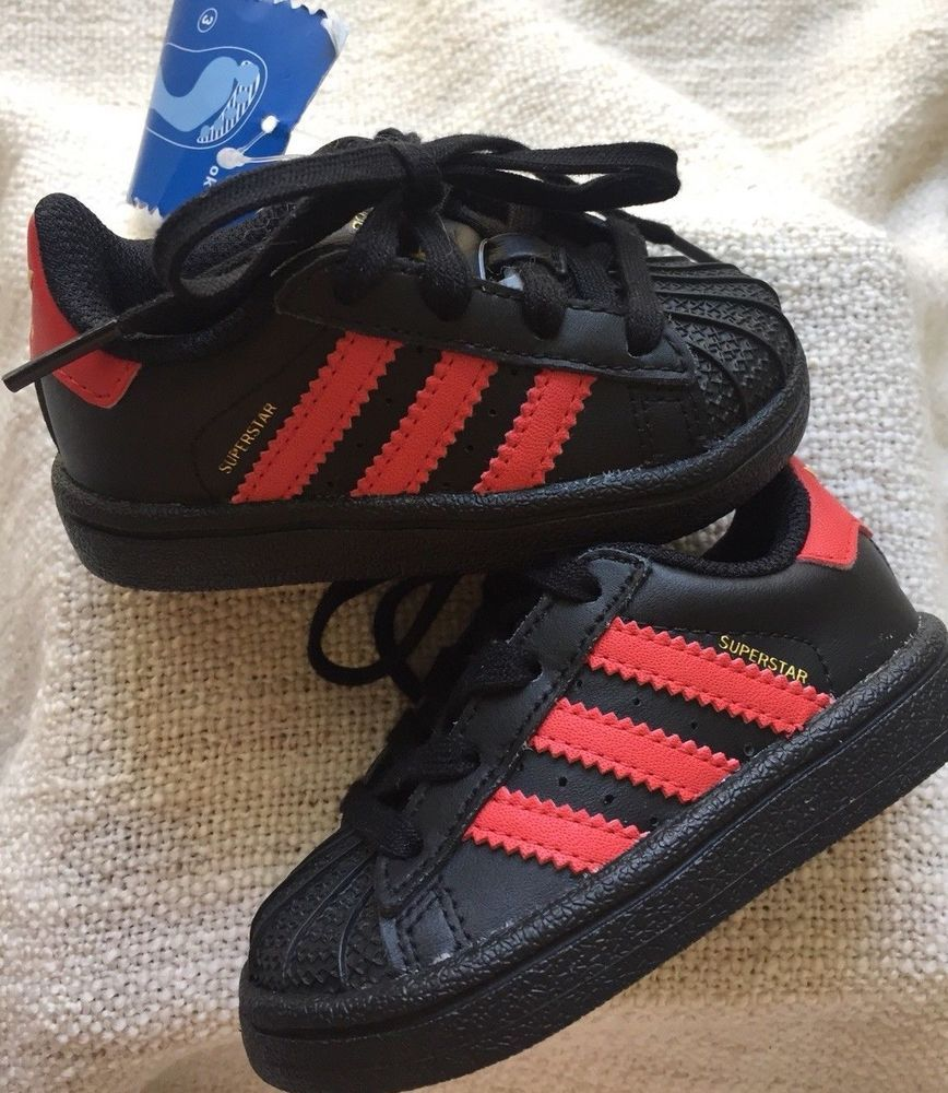 100% authentic bf1a2 d5e2e NEW Adidas Originals Superstar Shell Toe Toddler Black Red ...