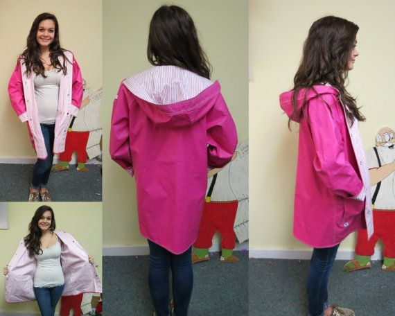 Womens Vintage 80's Pink PVC Rain Coat Raincoat, Rain Slicker ...