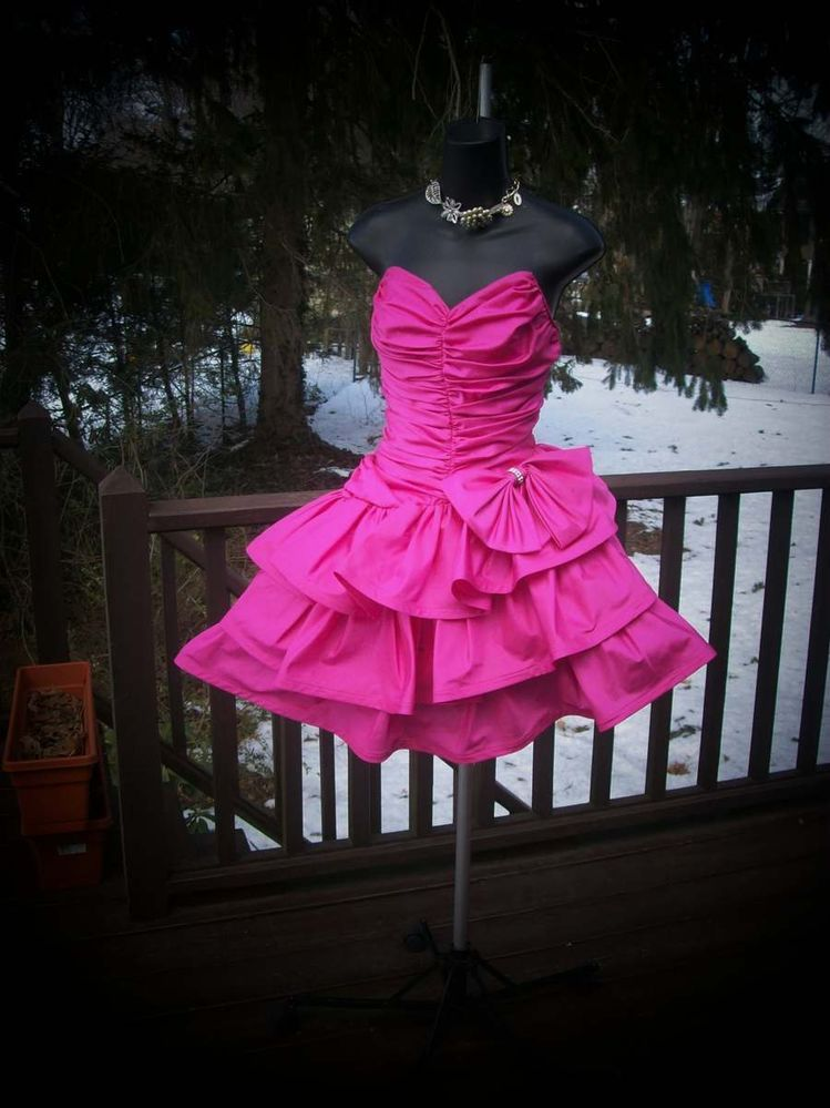VINTAGE 80s PINK PROM PARTY DRESS ACCESSORIES WILD CHILD BEST IN SHOW S  AVAILABLE NOW THE WEEK OF 3/10/2014 COME IN AND SEE ME FOR OTHERS TOO!!