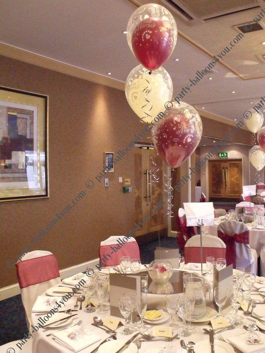 Balloon Centerpiece Uk : Wedding balloons fresh silk flowers pew end bows chair