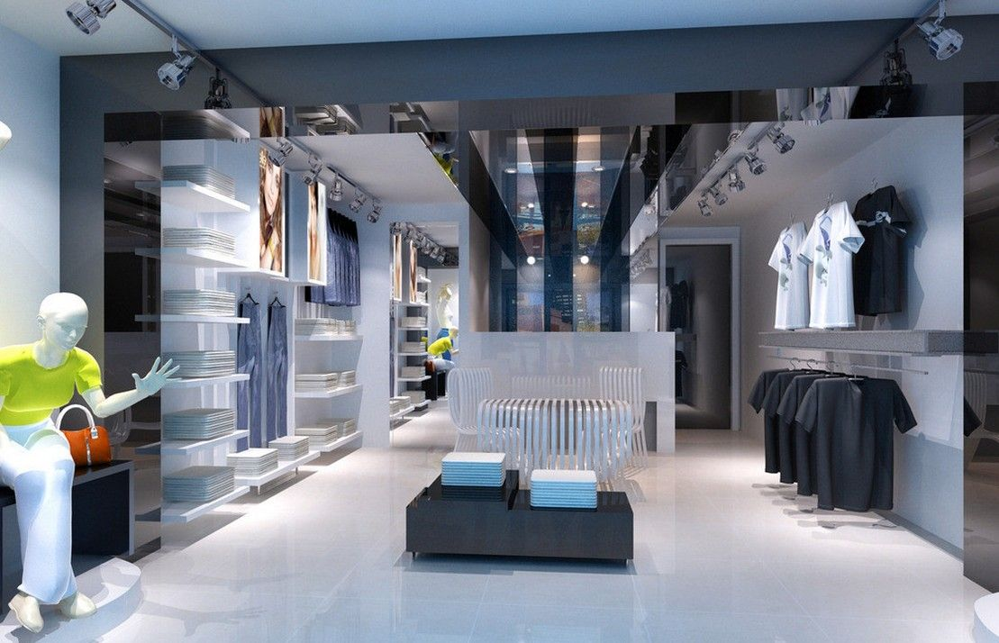 Interesting Store Interior Design Clothing Rendering Mall
