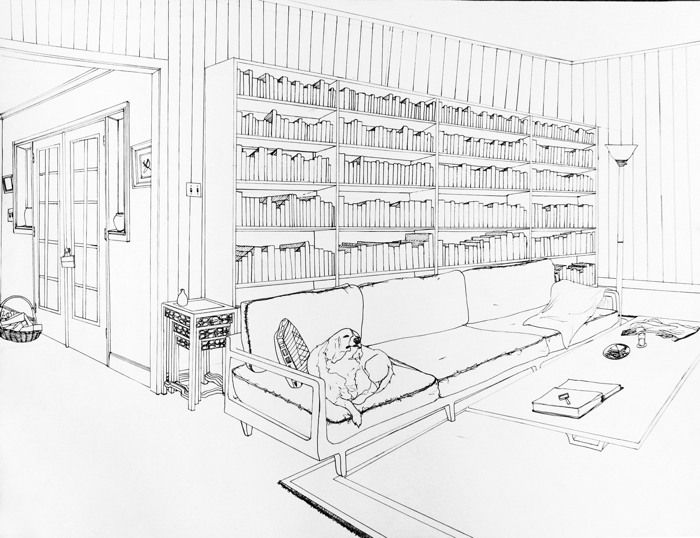 2 point perspective interior perspective drawing for Architecture modern house design 2 point perspective view