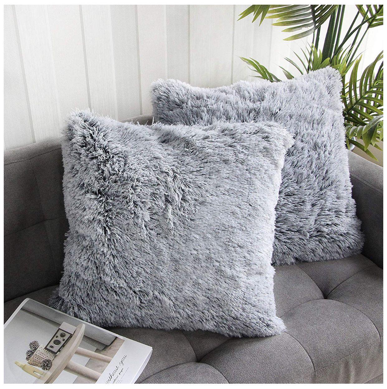 Fluffy Grey Pillows | Gray toss pillows