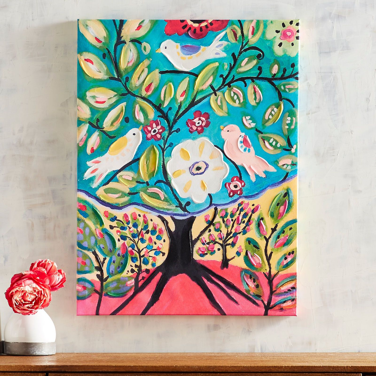Folksy Tree With Birds Art - Pier 1 Imports