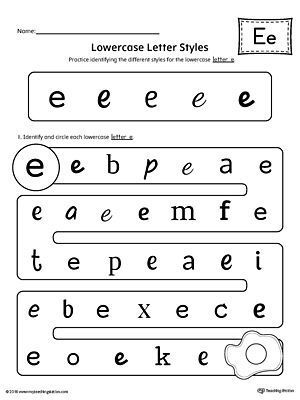 Lowercase Letter E Styles Worksheet Alphabet Letters Worksheets