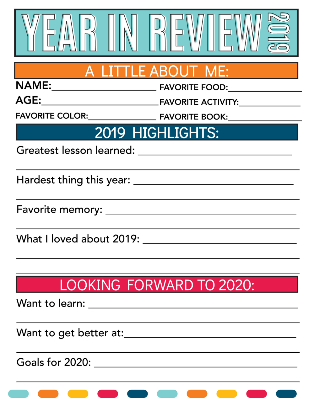 PRINTABLE NEW YEAR'S RESOLUTION FOR KIDS 2019 in 2020