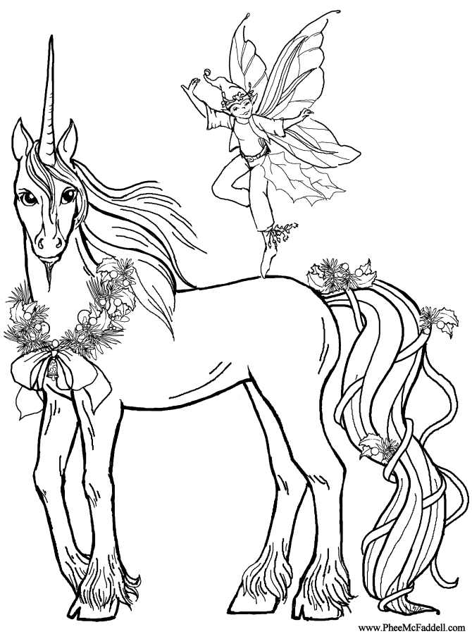 Elf Deco And The Unicorn Coloring Page Horse Coloring Pages Fairy Coloring Pages Horse Coloring