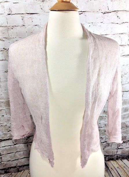 Eileen Fisher Pink Linen Metallic Shrug Open Front Size Small Thin Lightweight  #EileenFisher #Shrug #Casual