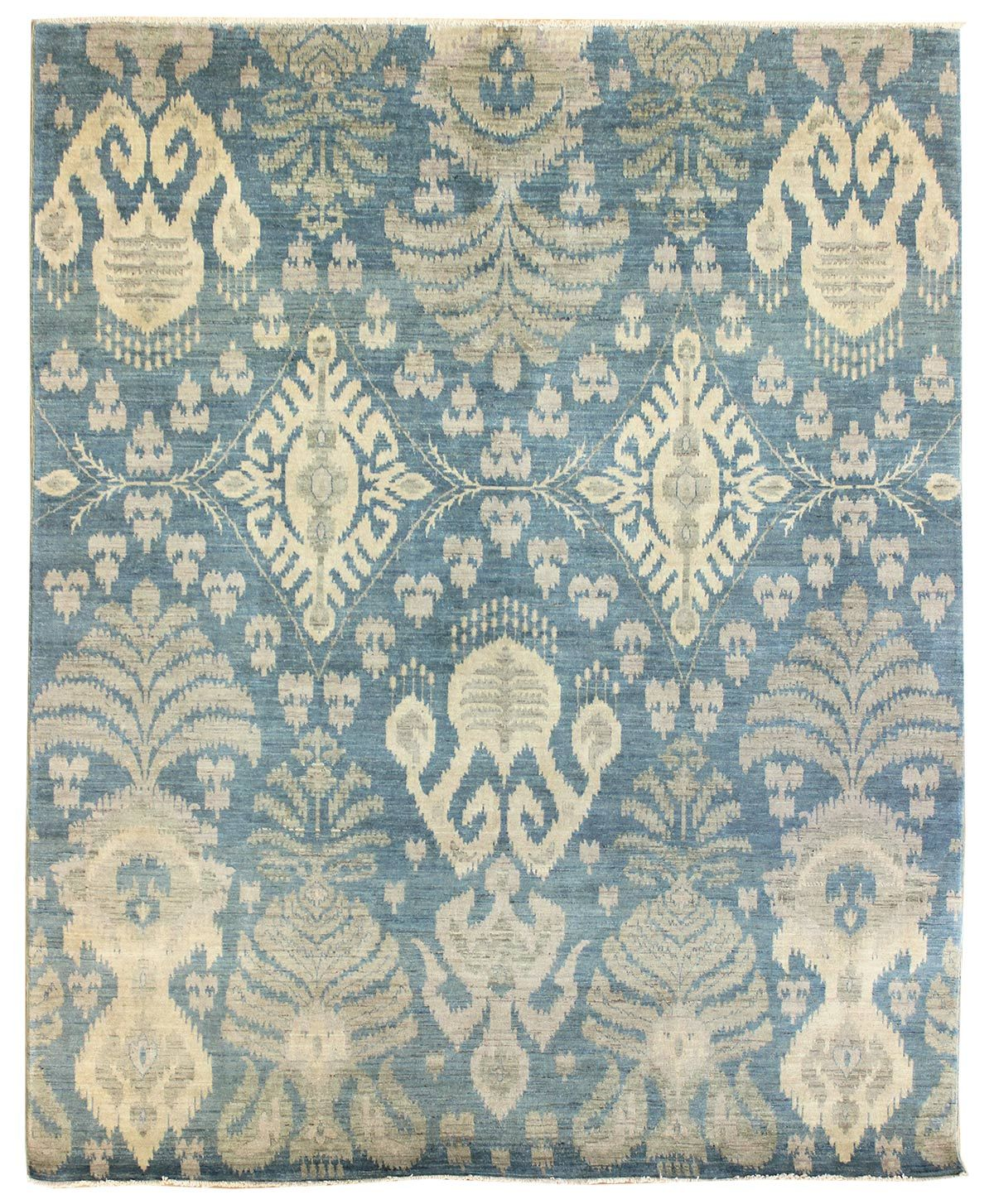 Ikat Design Rug Hand Knotted In