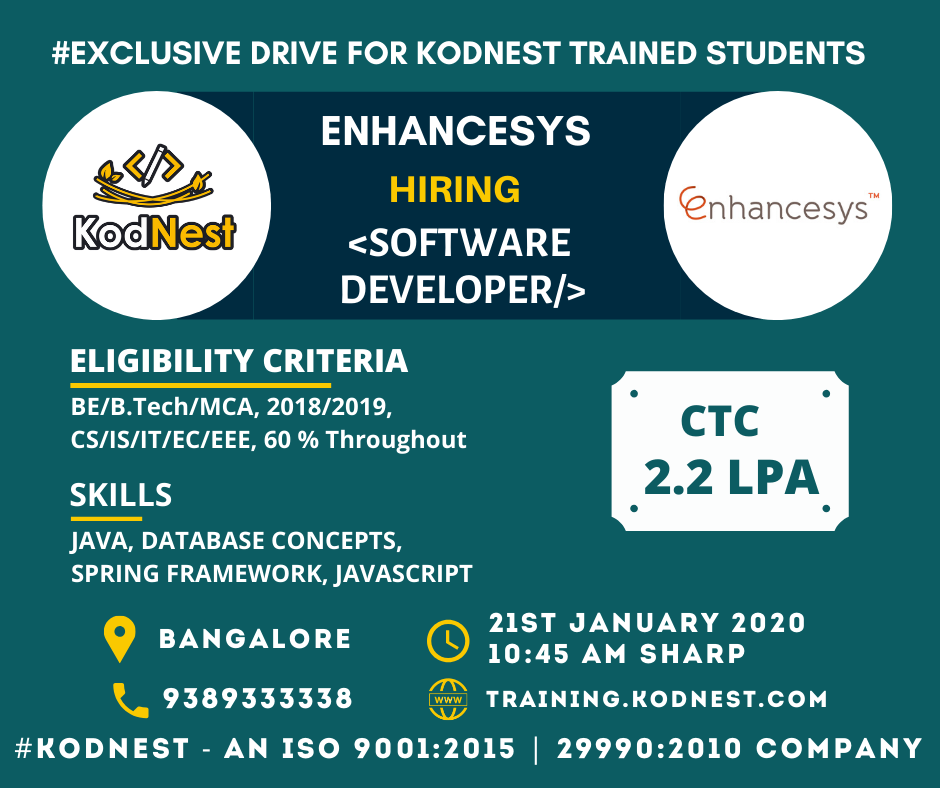 Kodnest Drive For Enhancesys Exclusive Drive For Trained Kodnest Students Company Enhancesys Designation In 2020 With Images Job Seeking Oops Concepts Software Development