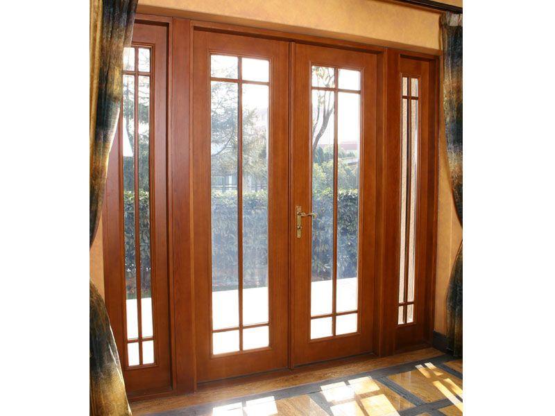 Roble macizo madera de alerce el aluminio puerta francesa for Puerta de roble macizo castorama