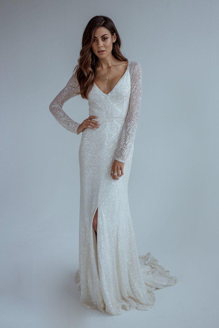 Kwh By Karen Willis Holmes 2017 Collection Love Find Co Wedding Dress Long Sleeve Wedding Dress Sequin Wedding Dresses [ 1125 x 750 Pixel ]