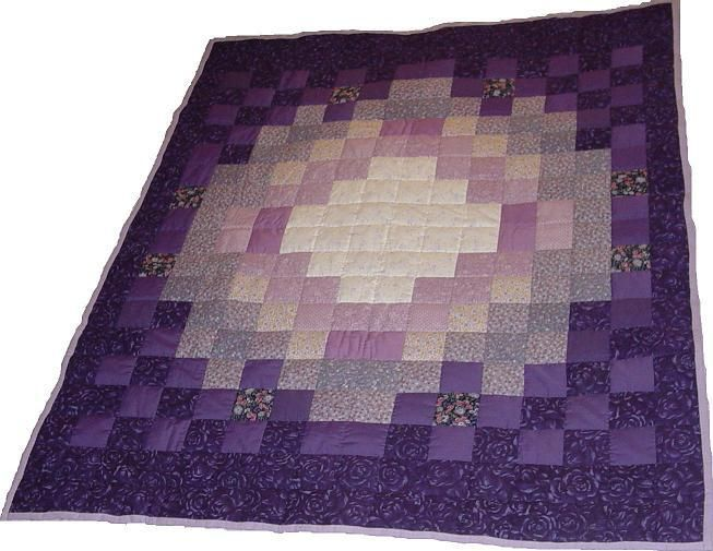 handmade market vintage embroidered handstitched purple quilt il iris etsy