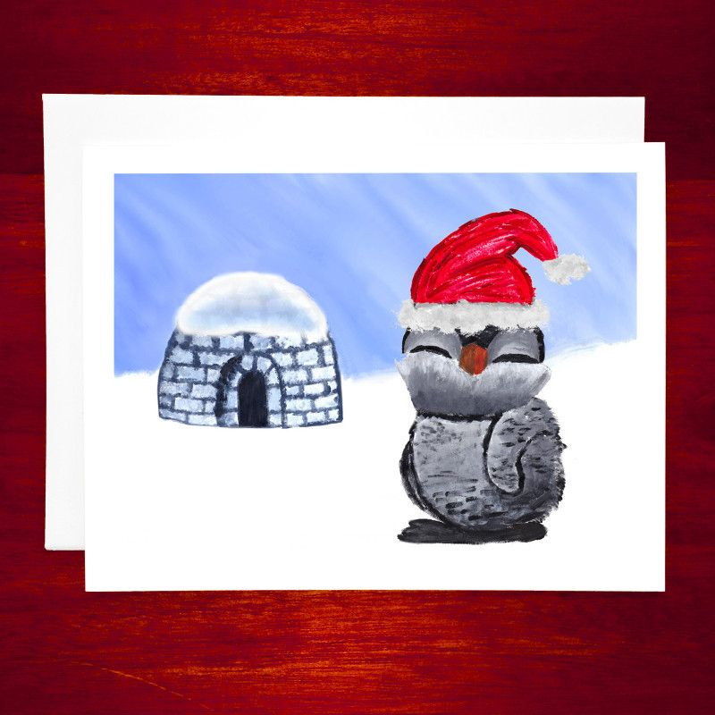 Cute Holiday Card - Cute Penguin and Igloo - 5 or 12 Card Pack #SALE ...