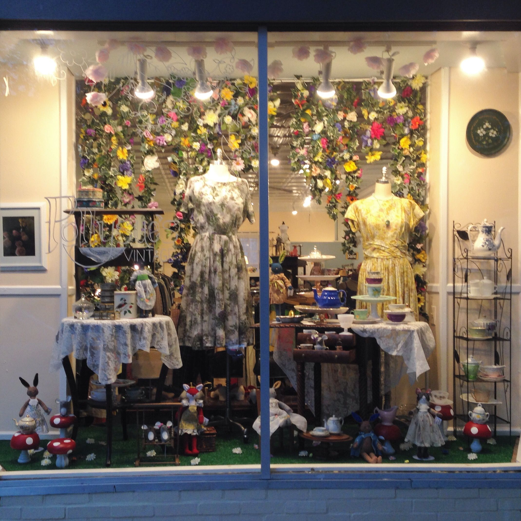 Garden party window at pollysues vintage takoma park md