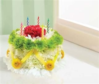 1 800 FlowersR Birthday Flower Cake Green Yellow Ordered For Aunt Joanies Today Miss Daisys Flowers Gifts In Leesburg FL Was Exceptional