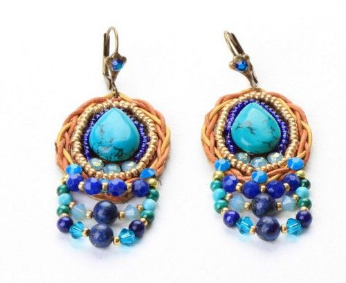 Find Turquoise Drop Earrings. Beaded Embroidered. Tribal Style Earrings. Colorfull Jewelry in the Jewelry - Earrings category on Shamza