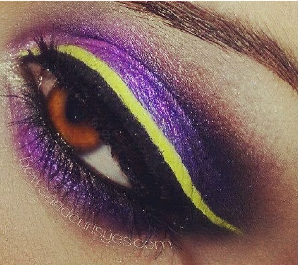 Purple And Yellow Sexy Sultry Eyes Makeup Viking