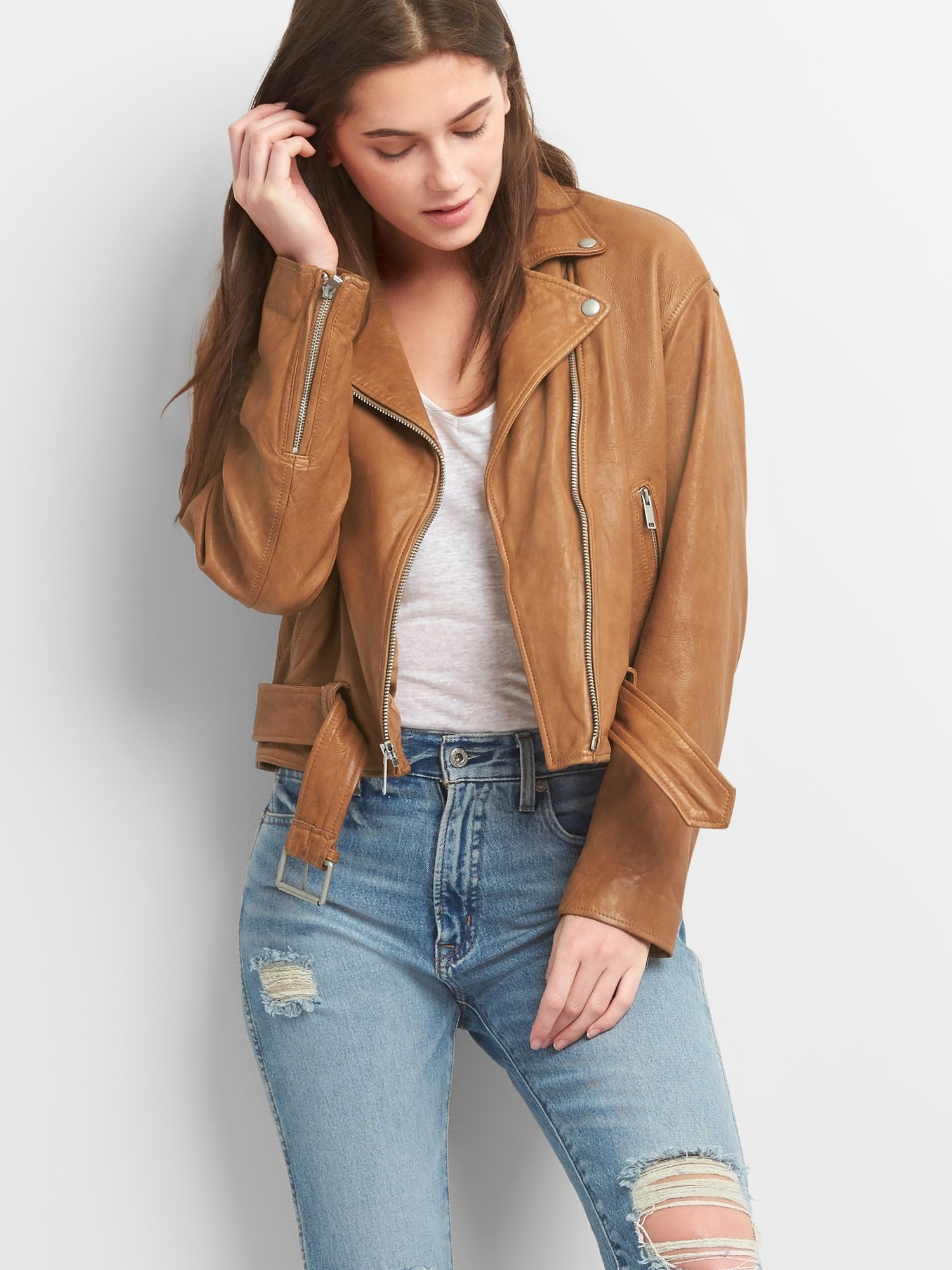 Belted Moto Jacket in Leather Gap Jacket outfit women
