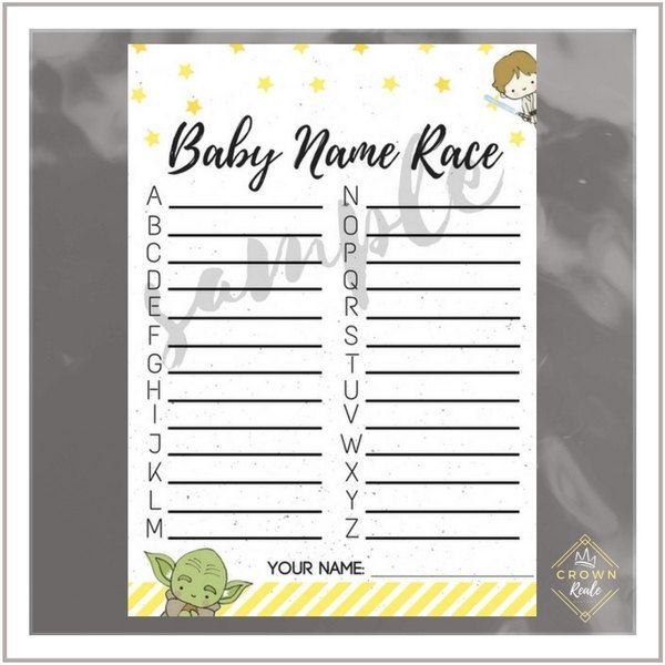 Baby Shower Game, Baby Name Race, Stars, Welcome Baby, Pink, Yellow